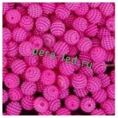 Фуксия цвет. Ежики. Бусинки цветные акриловые круглые. Bayberry. 14 мм. 20 шт. #6