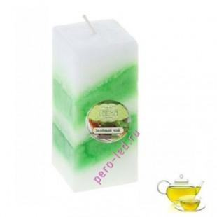 4.5 х 4.5 х 10 см. Зеленый чай. 2-х цветная. Квадрат. Свеча ароматическая столбик