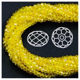 Желтый хамелеон цвет. Круглые граненые бусины. OlingArt  10 мм. 70 шт+/-2 шт. #6