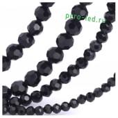 Черный цвет. Круглые граненые бусины. OlingArt  2 мм 150 шт+/-5 шт.  #11