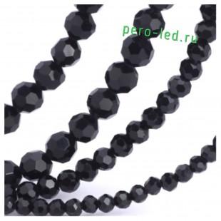 Черный цвет Круглые граненые бусины. OlingArt  2 мм 150 шт+/-5 шт.  #11