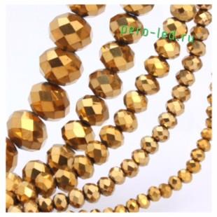 Золотой цвет. Круглые граненые бусины. OlingArt  2 мм 150 шт+/-5 шт.  #23