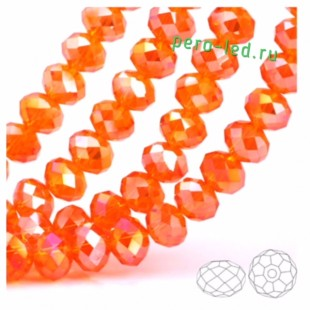 Оранжевый хамелеон цвет. Круглые граненые бусины. OlingArt  2 мм 150 шт+/-5 шт.  #29