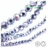 Серебро хамелеон цвет. Круглые граненые бусины. OlingArt  2 мм 150 шт+/-5 шт.  #25