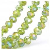 Зеленый хамелеон цвет. Круглые граненые бусины. OlingArt  8 мм. 70 шт+/-2 шт. #35