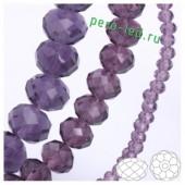 Фиолетовый прозрачный цвет. Круглые граненые бусины. OlingArt  8 мм. 70 шт+/-2 шт. #40