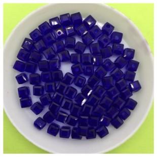 № 30. 100 шт. Синий цвет. Бусинки кубики. № 6