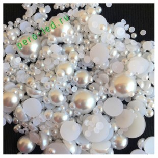 Белый цвет. Полукруглые бусины имитация жемчуга.  4 мм.  500 шт  #1