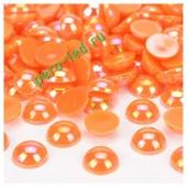 Оранжевый хамелеон цвет. Полукруглые бусины имитация жемчуга.  4 мм.  500 шт  #7