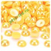 Желтый хамелеон цвет. Полукруглые бусины имитация жемчуга. 6 мм.  250 шт  #6