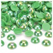 Зеленый хамелеон цвет. Полукруглые бусины имитация жемчуга.  4 мм.  500 шт  #10