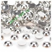 Серебро цвет. Полукруглые бусины имитация жемчуга.  4 мм.  500 шт  #14