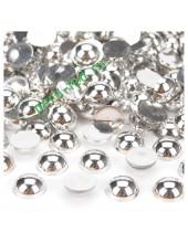 Серебро хамелеон цвет. Полукруглые бусины имитация жемчуга. 8 мм. 150 шт  #11