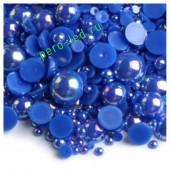 Синий хамелеон цвет. Полукруглые бусины имитация жемчуга.  4 мм.  500 шт  #9
