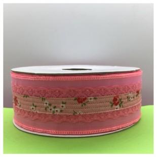 25 м. Розовый цвет. Тесьма с кружевом. 4 см. К-70