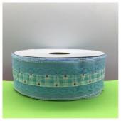 1 м. Голубой цвет. Тесьма с кружевом. 4 см. К-70