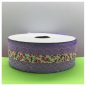 1 м. Фиолетовый цвет. Тесьма с кружевом. 4 см. К-70