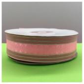 1 м. Розовый цвет. Тесьма с полосками. 2.5 см. С-80