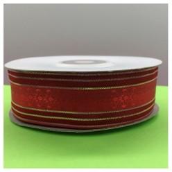1 м. Красный цвет. Тесьма с полосками. 2.5 см. С-80
