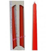 2 шт. Красный цвет. Свеча классическая в коробочке . 2 см х 2 см х 25 см