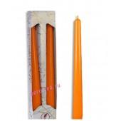 2 шт. Оранжевый цвет. Свеча классическая в коробочке . 2 см х 2 см х 25 см