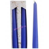 2 шт. Синий цвет. Свеча классическая в коробочке . 2 см х 2 см х 25 см