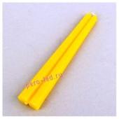 2шт. Желтый цвет. Свеча классическая.  2 см х 2 см х 25 см