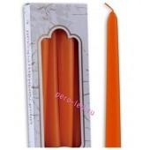 4 шт. Оранжевый цвет. Свеча классическая. 23 мм х 23 мм х 245 мм
