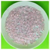 4 мм. 150 шт. Розовый прозрачный  цвет. Бусинки круглые с огранкой стеклярус № 16