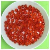 4 мм. 150 шт. Красный прозрачный цвет. Бусинки круглые с огранкой стеклярус № 23