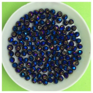 4 мм. 150 шт. Синий хамелеон цвет. Бусинки круглые с огранкой стеклярус № 27