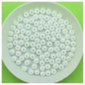 4 мм. 150 шт. Белый матовый цвет.  Бусинки круглые с огранкой стеклярус № 3