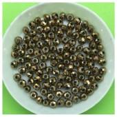 4 мм. 150 шт. Какао хамелеон  цвет. Бусинки круглые с огранкой стеклярус № 35