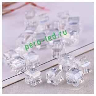 Белый прозрачный цвет. Кубики бусинки хрустальные 30*30  100 шт   #1  #1403