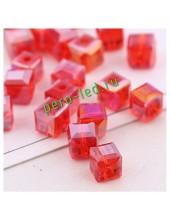 Красный цвет. Кубики бусинки хрустальные 30*30 100 шт #5  #1403