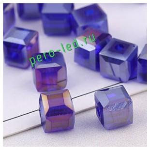 Синий цвет. Кубики бусинки хрустальные 30*30 100 шт #6  #1403