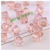 Розовый цвет. Кубики бусинки хрустальные 30*30 100 шт #4  #1403