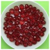6 мм. 100 шт. Красный прозрачный цвет. Бусинки круглые с огранкой стеклярус № 23