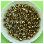 6 мм. 100 шт.  Золото цвет. Бусинки круглые с огранкой стеклярус № 8