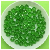6 мм. 100 шт. Зеленый прозрачный цвет. Бусинки круглые с огранкой стеклярус № 21