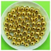 6 мм. 50 гр. Золото цвет. Цветные бусинки Круглые. Пришивные. № 8.   050