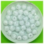 8 мм. 50 гр. Белый полупрозрачный цвет. Бусинки резка Пришивные № 1.  055
