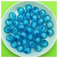 8 мм. 50 гр. Голубой полупрозрачный цвет. Бусинки резка Пришивные № 4.  055