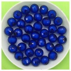 8 мм. 50 гр. Синий полупрозрачный цвет. Бусинки резка  Пришивные № 5.  055