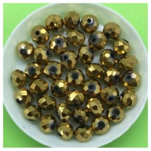 8 мм. 70 шт. Золото цвет. Бусинки круглые с огранкой стеклярус № 14