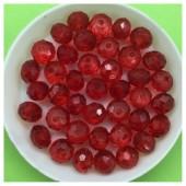 8 мм. 70 шт. Красный прозрачный цвет. Бусинки круглые с огранкой стеклярус № 32