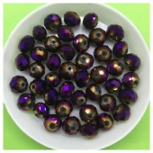 8 мм. 70 шт. Фиолетовый хамелеон цвет. Бусинки круглые с огранкой стеклярус № 38