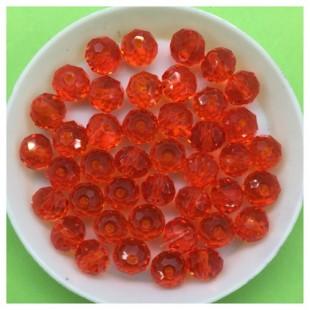 8 мм. 70 шт. Красный прозрачный цвет. Бусинки круглые с огранкой стеклярус № 7