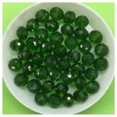 8 мм. 70 шт. Темно-зеленый прозрачный цвет. Бусинки круглые с огранкой стеклярус № 9