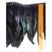 1 м. Черный цвет. Тесьма 2-х цветная из перьев петуха 20-25 см